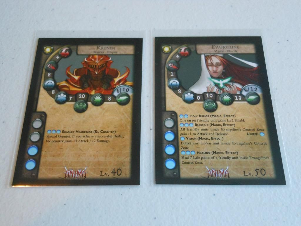 Kronen and Evangeline character cards