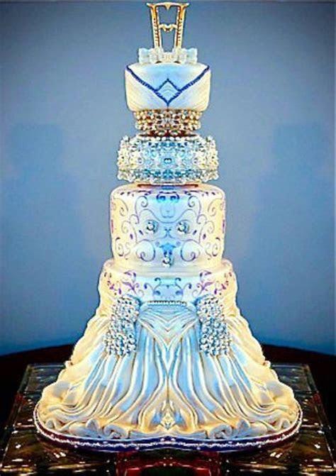 Elegant Blue And White Wedding Cake   CakeCentral.com