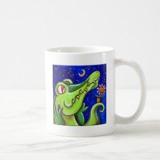 Crocodile In Love With The Moon Coffee Mug