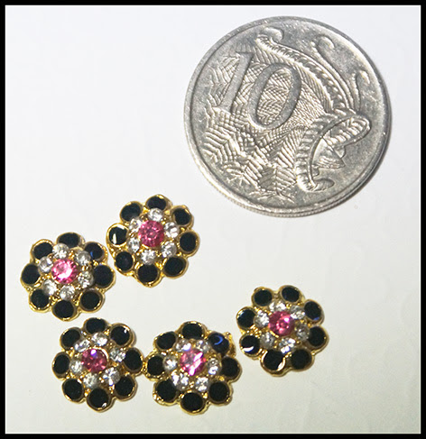 Micro bling black , pink  and clear,, stones enamel & diamante