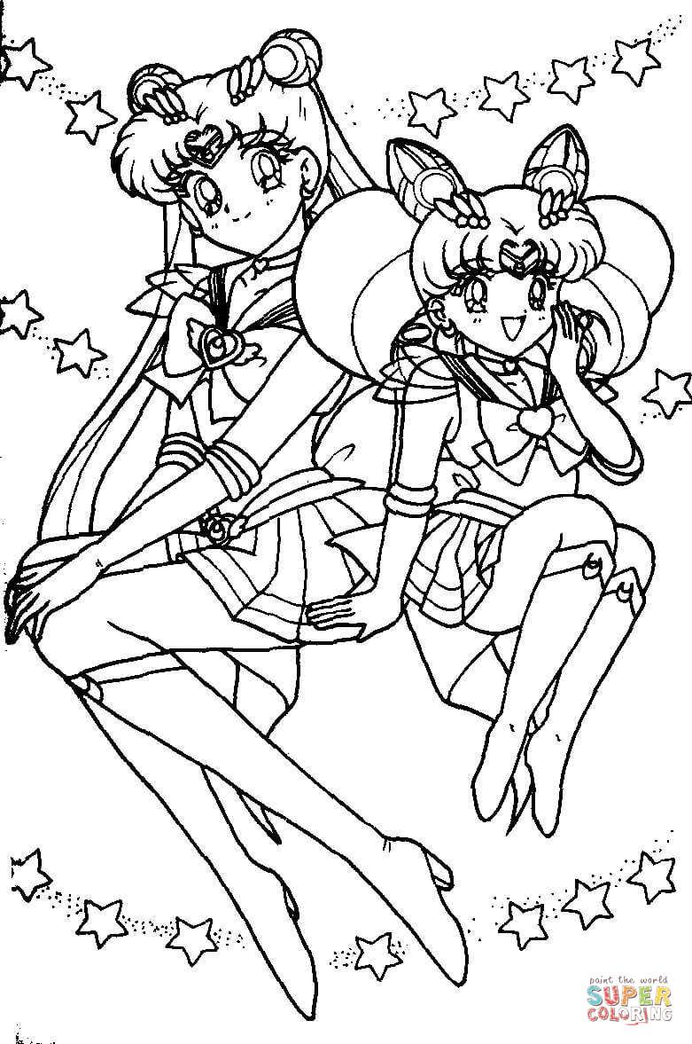 Sailor Chibi Moon coloriages pour visualiser la version imprimable ou colorier en ligne patible avec les tablettes iPad et Android