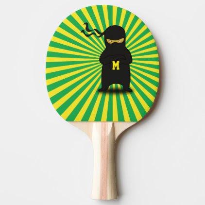 Monogram. Kawaii Cute Ninja for Nerd Geek. Ping Pong Paddle