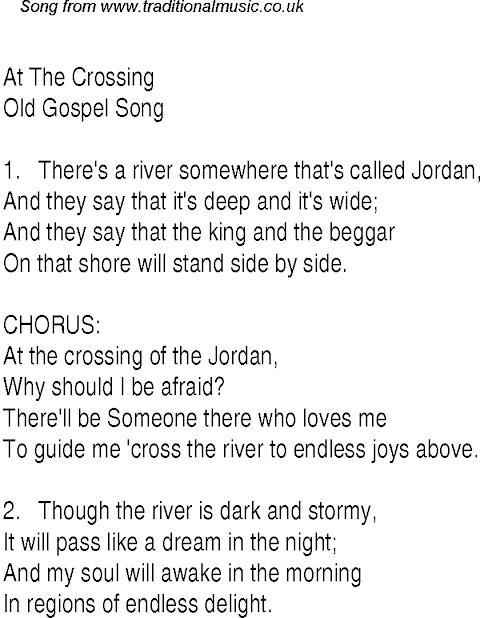 Lyrics To At The Crossing Of The Jordan