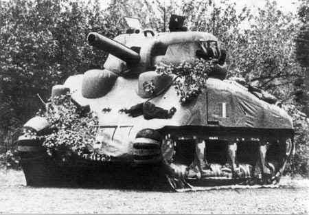 Inflatable tanks like this were harmless, but they certainly looked menacing enough to enemy reconnaissance.