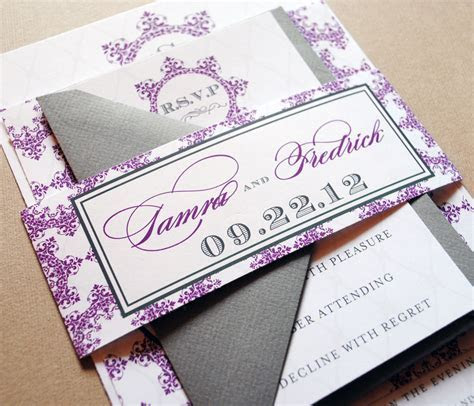 Purple Wedding Invitations   Purple and Gray, Belly Band