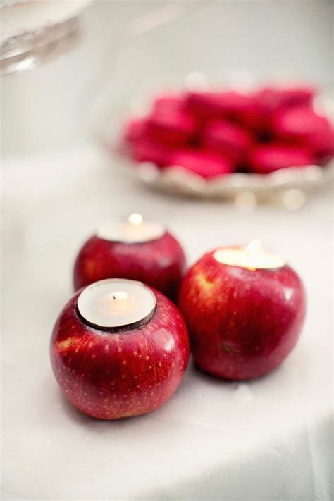 Fresh Carved Apple Candle   AllFreeDIYWeddings.com
