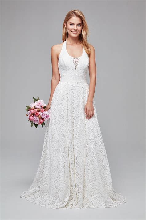 Plunging Lace Halter Petite Wedding Dress 7WG3844