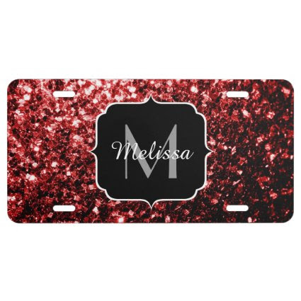 Beautiful Glamour Red Glitter sparkles Monogram License Plate