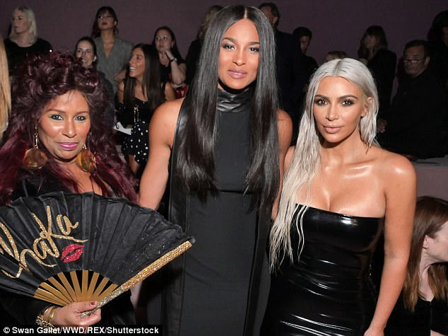 Immaculate: The silver haired beauty also posed with Chaka Khan before chatting with Ciara