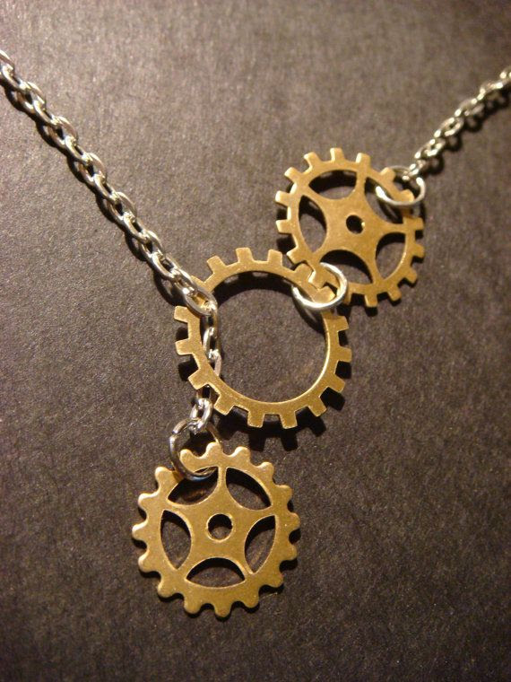 Steampunk Gear  and Cog Lariat Style Necklace by CreepyCreationz, $14.00