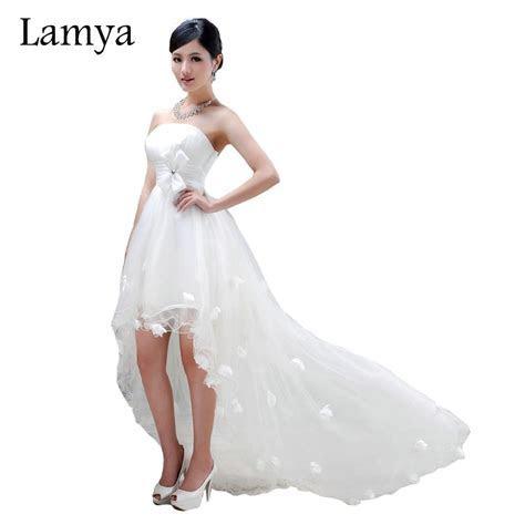 Lamya Sexy Front Short Long Back Wedding Dress Real Photos