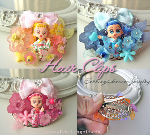 Brand new in my shops KAWAII HAIR CLIPS !  In my Etsy shop Dinafragola shop dans ma boutique Alittlemarket (en français)