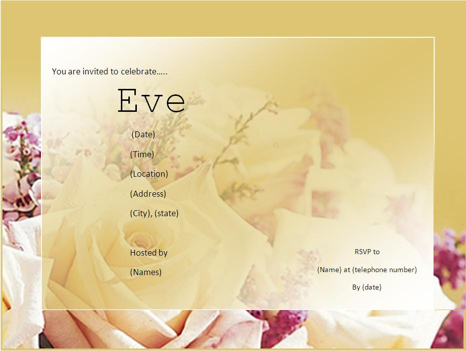 free downloadable invitation templates word