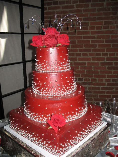 red and silver wedding cake www.cheesecakeetc.biz wedding