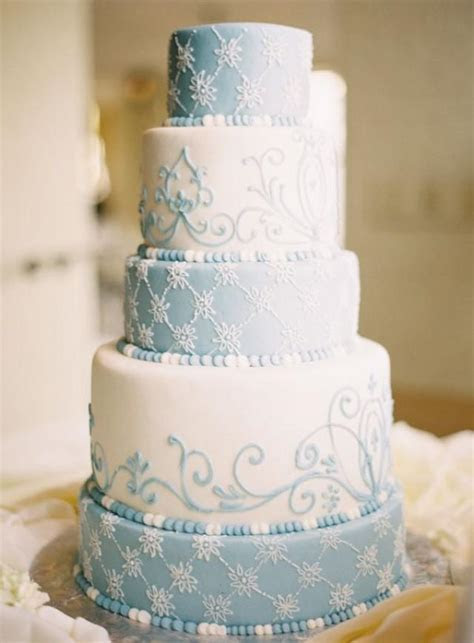 Five Tier Round Blue And White Wedding Cake #2157959
