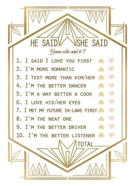 Gatsby Bridal Shower Game Template Bridal Shower He Said