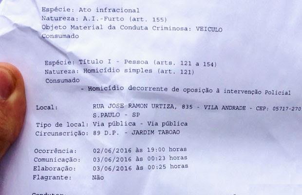 Boletim de ocorrência registrou a morte como homício decorrente de oposição à intervenção policial (Foto: Kleber Tomaz/G1)