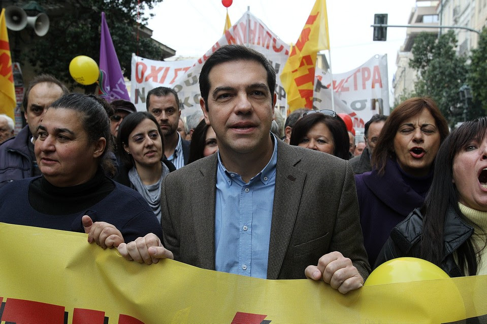 Syriza party leader Alexis Tsipras at a demonstration in Athens on Nov. 27. His party's lead over the ruling conservatives has narrowed, weekend polls showed.