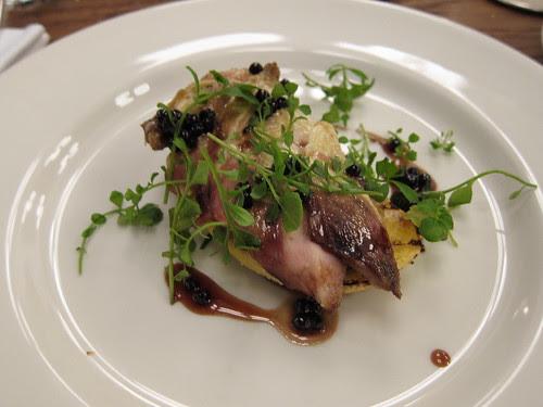 Roast partridge on toast