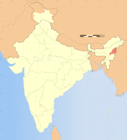 Location of Nagaland (marked in red) in India