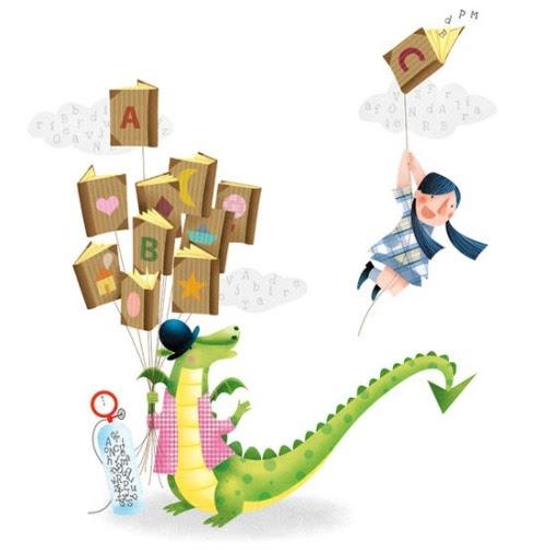 Flying with books / Volando con los libros (ilustración de Marta Álvarez)