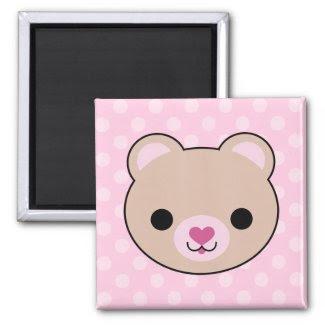 Kawaii Teddy Bear Pink Polka Dots Magnet magnet