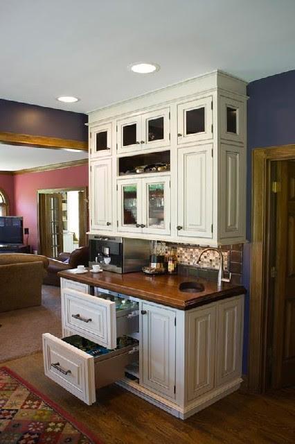 Cincinnati Kitchen White and Dark Cabinets Traditional