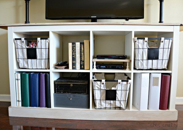She S Crafty Ikea Expedit Media Center And How I Hide The