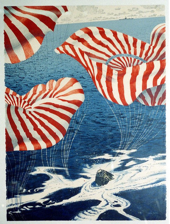 chromolithograph of cone-shaped apollo command module in ocean and red/white striped parachute trio billowing out from it
