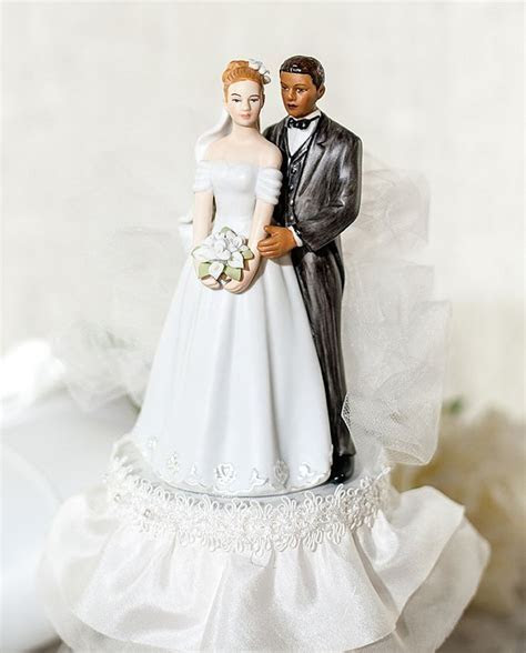 Interracial Tulle Cake Topper   Wedding Collectibles