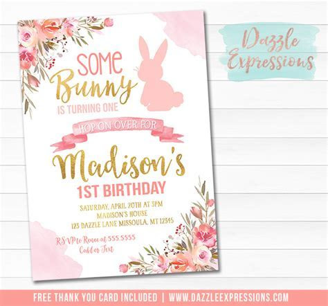 Printable Pink and Gold Some Bunny Rabbit Birthday