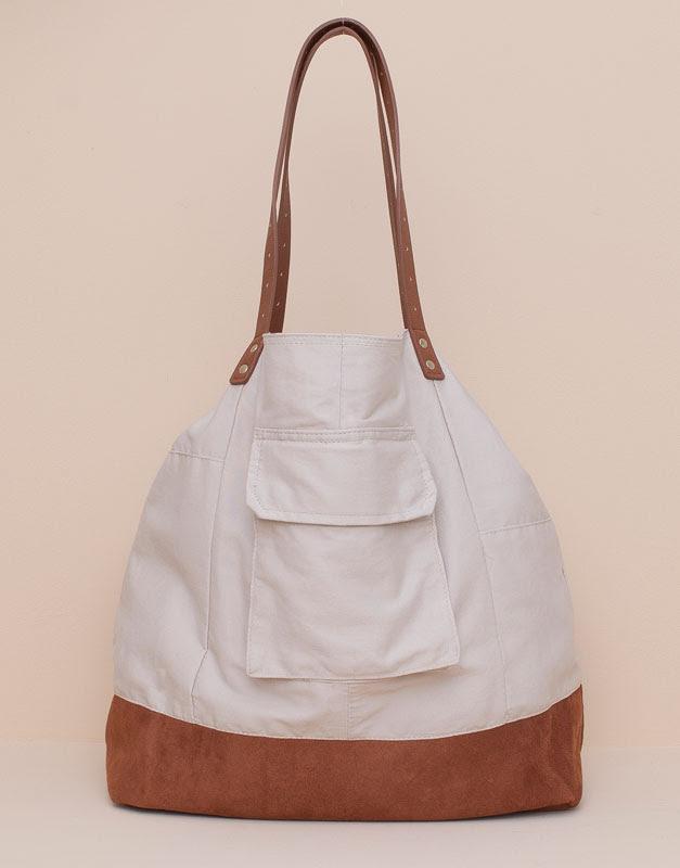 Pull&Bear - mujer - bolsos y mochilas - shopper oversize tejido combinados - crudo - 09821312-I2015