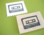 Hand Carved Cassette Tape Rubber Stamp