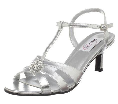 silver shoes for wedding mother     strap chunky heel