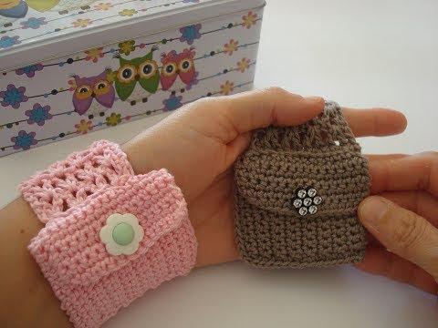 فيديو شرح طريقة عمل سوار مع محفظه بالكروشيه نسائى bracelet with crochet purse كروشيه