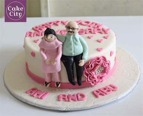 Parents Anniversary Cake   Fondant cakes   Wedding