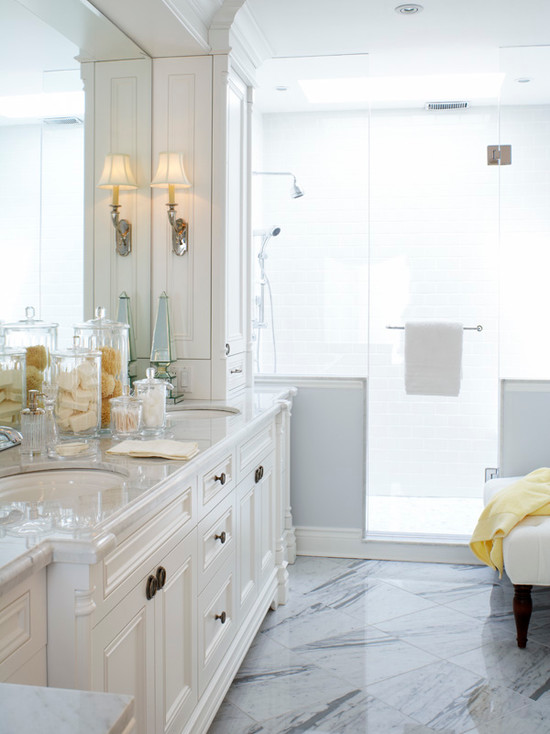 Diagnol Tile Floor - Traditional - bathroom - Kimberley Seldon ...