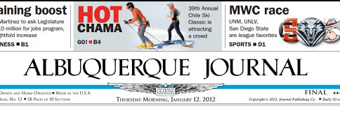 Cover ABQ Journal 1/12/12