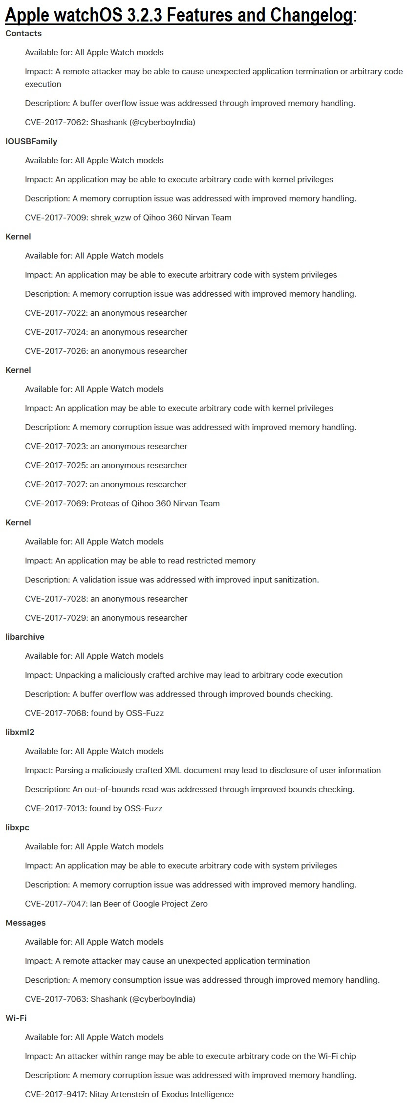 Apple watchOS 3.2.3 Features and Changelog
