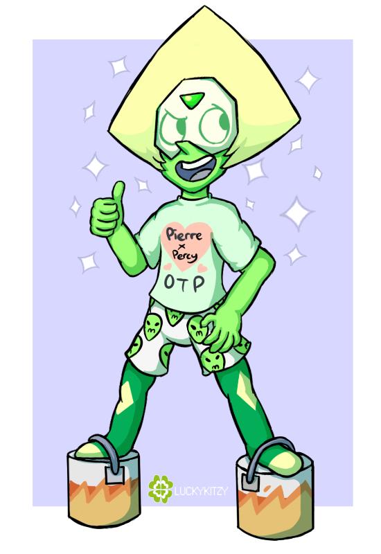 Peridot became a Crystal Gem. And a Yaoi shipper. ( ͡° ͜ʖ ͡°) She grew from a tol angry dorito to a smol, less angry dorito and I'm so proud of my smol dorito child. c...