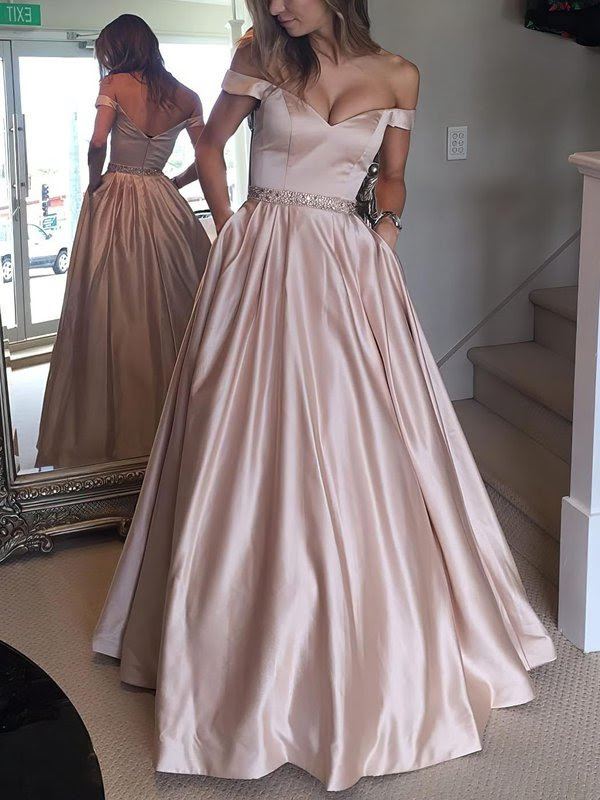 Ball Gown Off-the-shoulder Satin with Beading Floor-length Prom Dress #Milly020104578