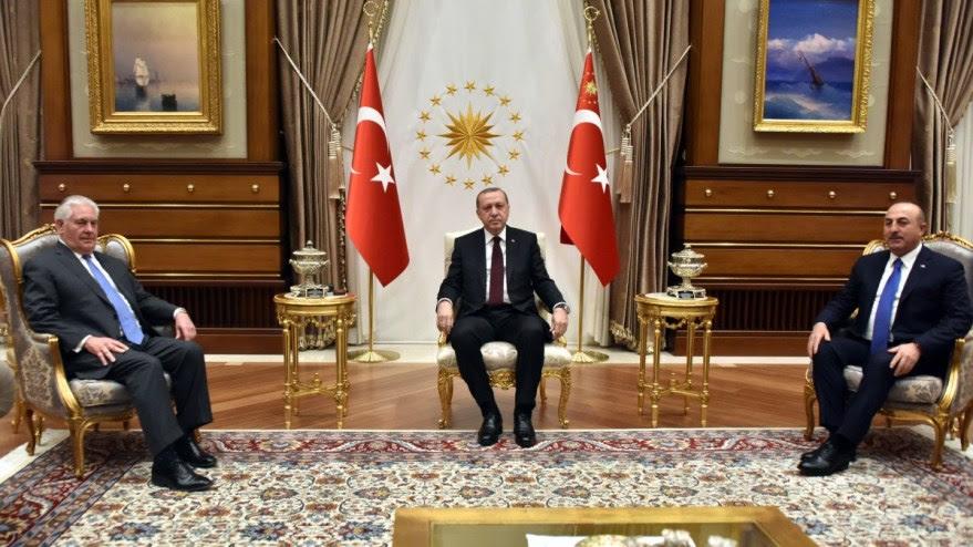 File Photo: U.S. Secretary of State Rex Tillerson with Turkish President Recep Tayyip Erdoğan and Turkish Foreign Minister Mevlüt Çavusoğlu in Ankara, Turkey, on February 16, 2018. [State Department photo, Public Domain]