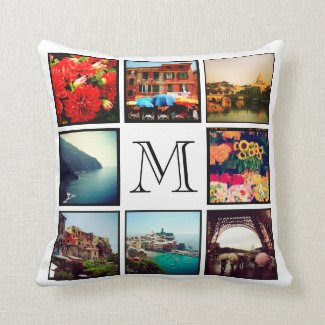 Custom Monogram Instagram Photo Collage Throw Pillows