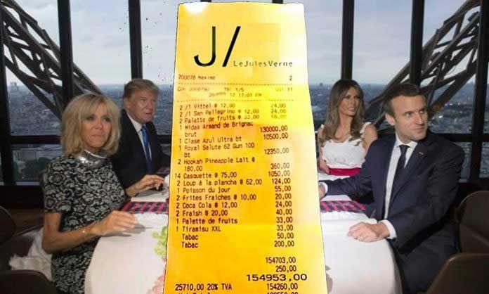 """Résultat de recherche d'images pour """"diner Eiffel Trump Macron"""""""