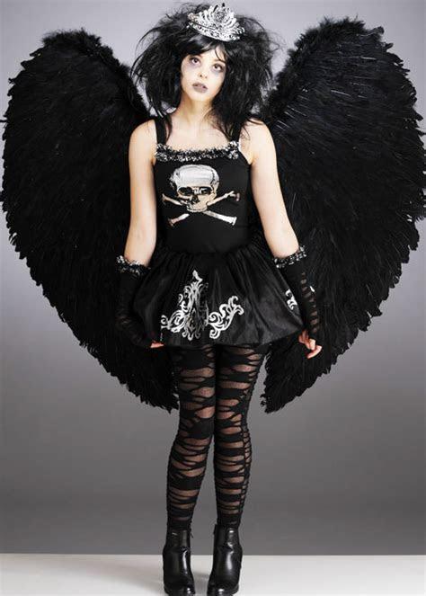 Teen Gothic Fallen Dark Angel Costume With Wings