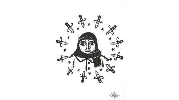 Mulher de burca que chora, cercada por espadas e estrelas