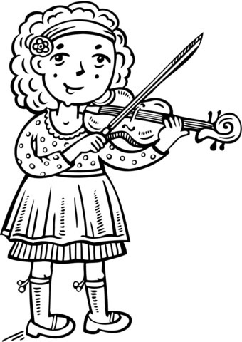 Disegno Di Ragazza Suona Il Violino Da Colorare Disegni Da