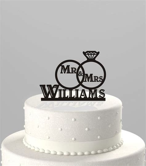 Wedding Cake Topper of a Wedding Ring Set with Mr & Mrs