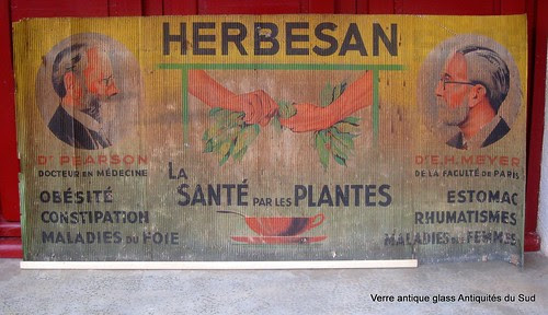 """Affiche publicitaire pharmaceutique, la santé par les plantes """"HERBESAN"""" herboristerie. Sur carton. XIX ème by Verre Antique Glass Antiquités du Sud"""