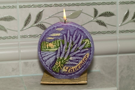 Candle With Lavender Flowers Aromatherapy Concept Royalty Free ...